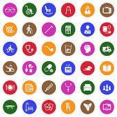 Senior Lifestyle Icons. White Flat Design In Circle. Vector Illustration.
