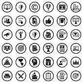 Branding Icons. Black Flat Design In Circle. Vector Illustration.