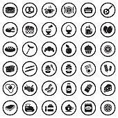 Breakfast Icons. Black Flat Design In Circle. Vector Illustration.