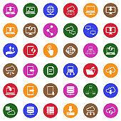 Data Transfer Icons. White Flat Design In Circle. Vector Illustration.
