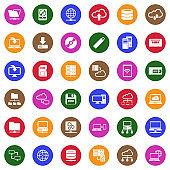 Data Storage Icons. White Flat Design In Circle. Vector Illustration.