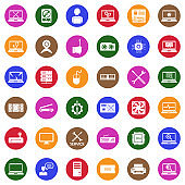 Computer Repair Icons. White Flat Design In Circle. Vector Illustration.
