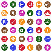Cowboy Icons. White Flat Design In Circle. Vector Illustration.