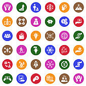 Crowdfunding Icons. White Flat Design In Circle. Vector Illustration.