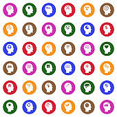 Thinking Heads Icons. White Flat Design In Circle. Vector Illustration.