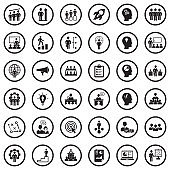 Business Training Icons. Black Flat Design In Circle. Vector Illustration.