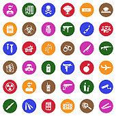 Terrorist Icons. White Flat Design In Circle. Vector Illustration.