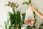 Young woman with shopping cotton Eco bag with fruits and vegetables in her hands on green wall background. Lifestyle, zero waste concept. Sustainable shopping