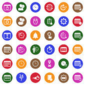 Time And Schedule Icons. White Flat Design In Circle. Vector Illustration.