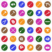 Tools Icons. White Flat Design In Circle. Vector Illustration.