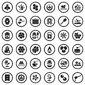 Bee And Honey Icons. Black Flat Design In Circle. Vector Illustration.