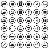 Bedroom Icons. Black Flat Design In Circle. Vector Illustration.