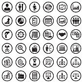 Business Icons. Black Flat Design In Circle. Vector Illustration.