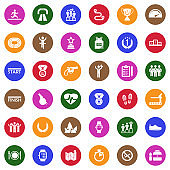 Running Icons. White Flat Design In Circle. Vector Illustration.