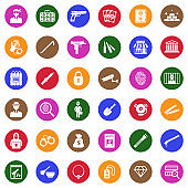 Robbery Icons. White Flat Design In Circle. Vector Illustration.