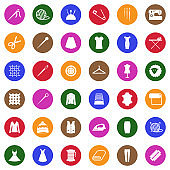 Sewing Icons. White Flat Design In Circle. Vector Illustration.