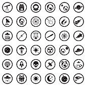Astronomy Icons. Black Flat Design In Circle. Vector Illustration.