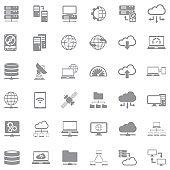 Server Icons. Gray Flat Design. Vector Illustration.