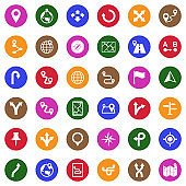 Route Icons. White Flat Design In Circle. Vector Illustration.