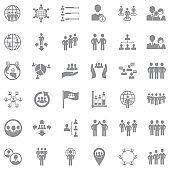 Population Icons. Gray Flat Design. Vector Illustration.