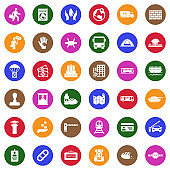 Refugee Icons. White Flat Design In Circle. Vector Illustration.