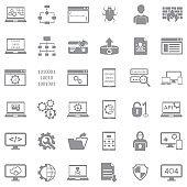 Programming Icons. Gray Flat Design. Vector Illustration.