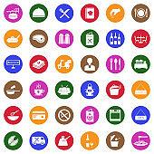 Restaurant Icons. White Flat Design In Circle. Vector Illustration.