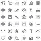 Supermarket Icons. Gray Flat Design. Vector Illustration.