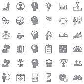 Productivity Improvement Icons. Black Flat Design. Vector Illustration.Gray Flat Design. Vector Illustration.