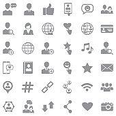 Social Media Icons. Gray Flat Design. Vector Illustration.