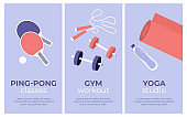 Set of vector banners with sport activities of yoga studio, gym workout, ping pong classes