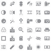 Photography Icons. Gray Flat Design. Vector Illustration.
