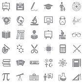 School Icons. Gray Flat Design. Vector Illustration.