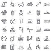 Pollution Icons. Gray Flat Design. Vector Illustration.