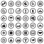 Business And Finance Icons. Black Flat Design In Circle. Vector Illustration.