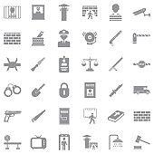 Prison Icons. Gray Flat Design. Vector Illustration.