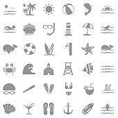 Sea Icons. Gray Flat Design. Vector Illustration.