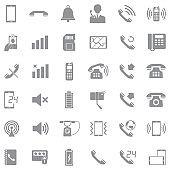Phone Icons. Gray Flat Design. Vector Illustration.