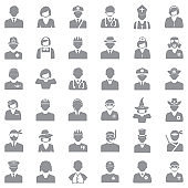 People Icons. Gray Flat Design. Vector Illustration.