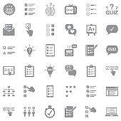 Quiz Icons. Gray Flat Design. Vector Illustration.