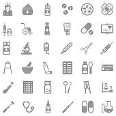 Pharmacy Icons. Gray Flat Design. Vector Illustration.