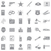 Police Icons. Gray Flat Design. Vector Illustration.