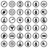 Blood Icons. Black Flat Design In Circle. Vector Illustration.