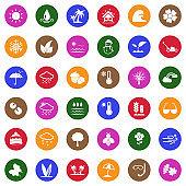 Season Icons. White Flat Design In Circle. Vector Illustration.