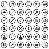 Builder Icons. Black Flat Design In Circle. Vector Illustration.