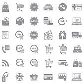 Shopping Icons. Gray Flat Design. Vector Illustration.