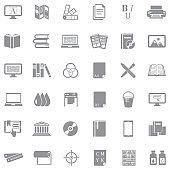 Publishing Icons. Gray Flat Design. Vector Illustration.