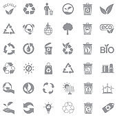 Recycle Icons. Gray Flat Design. Vector Illustration.