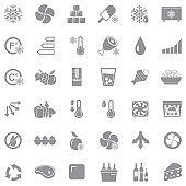 Refrigerator Icons. Gray Flat Design. Vector Illustration.