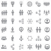 People Connection Icons. Gray Flat Design. Vector Illustration.